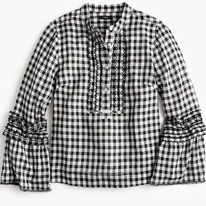 J. Crew Embroidered Bell-sleeve Top in Gingham
